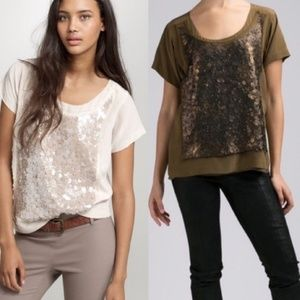 J. Crew Silk Sequin Army Green Scoop Neck Blouse